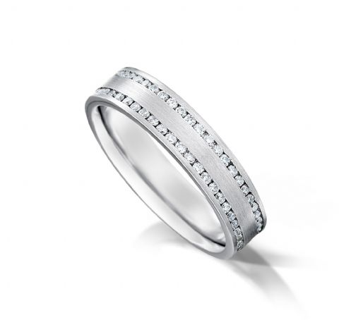 Channel set flat court eternity/wedding ring, platinum. 4.5mm x 1.7mm. Full coverage